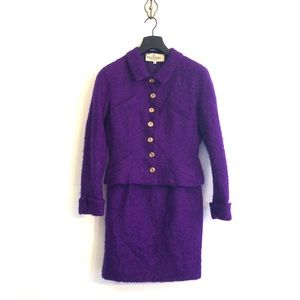 [Valentino] Vintage Purple Knit Skirt Suit - 10